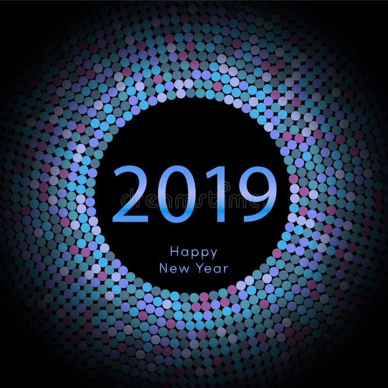 淡紫色discoball新年2019年招呼的海报 新年快乐与微粒的圈子圆盘 闪烁灰色光点图形 皇族释放例证