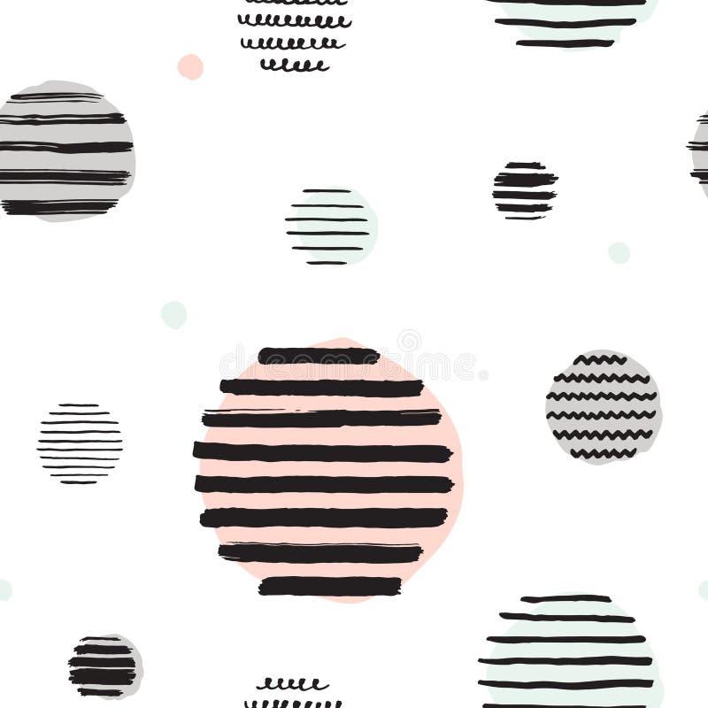 黑&淡色乱画圈子&条纹导航无缝的样式 库存例证