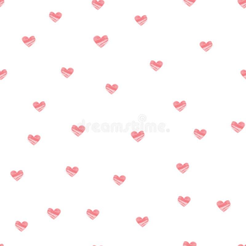 淡色在白色背景-传染媒介的心脏无缝的样式 库存例证