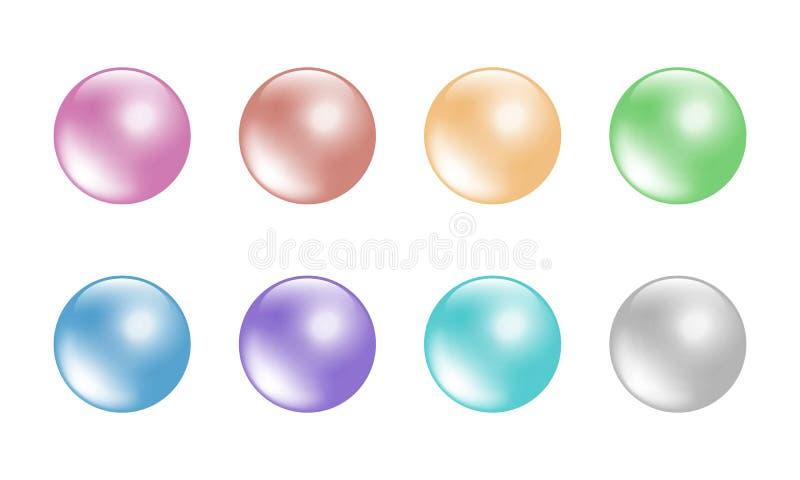 淡色在白色背景8颜色隔绝的球集合 库存例证