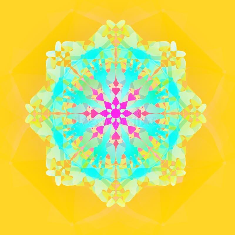 淡色坛场,中心紫色花,淡黄色,鞋带纹理,金飞机背景,绿松石圈子,辐形,光 皇族释放例证