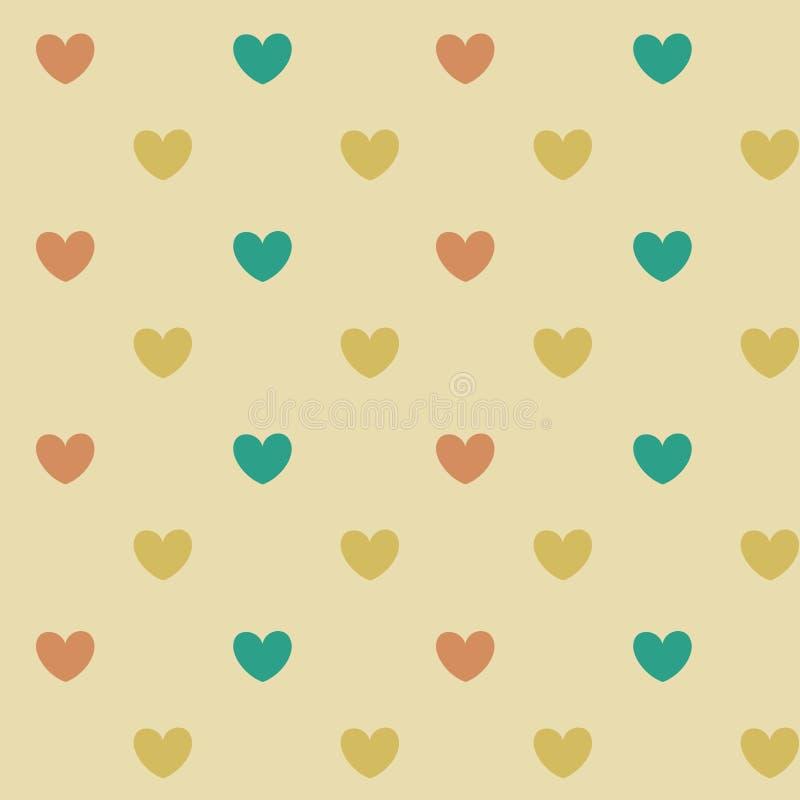 淡色心脏无缝的样式背景 向量例证