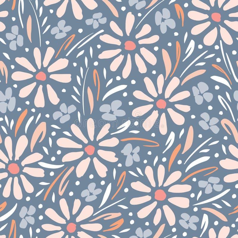 淡色手画雏菊和叶子在灰色背景传染媒介无缝的样式 春天夏天花卉图案 向量例证