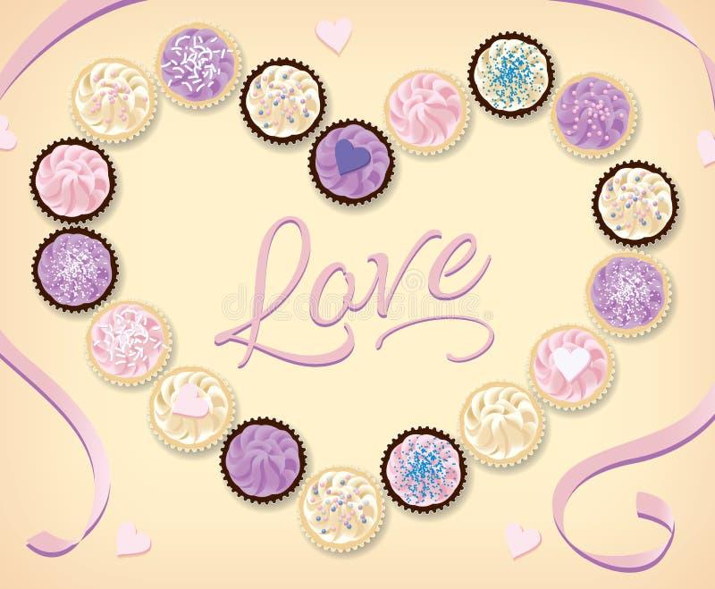 淡色杯形蛋糕的汇集从上面被看见以心脏的形式 库存照片