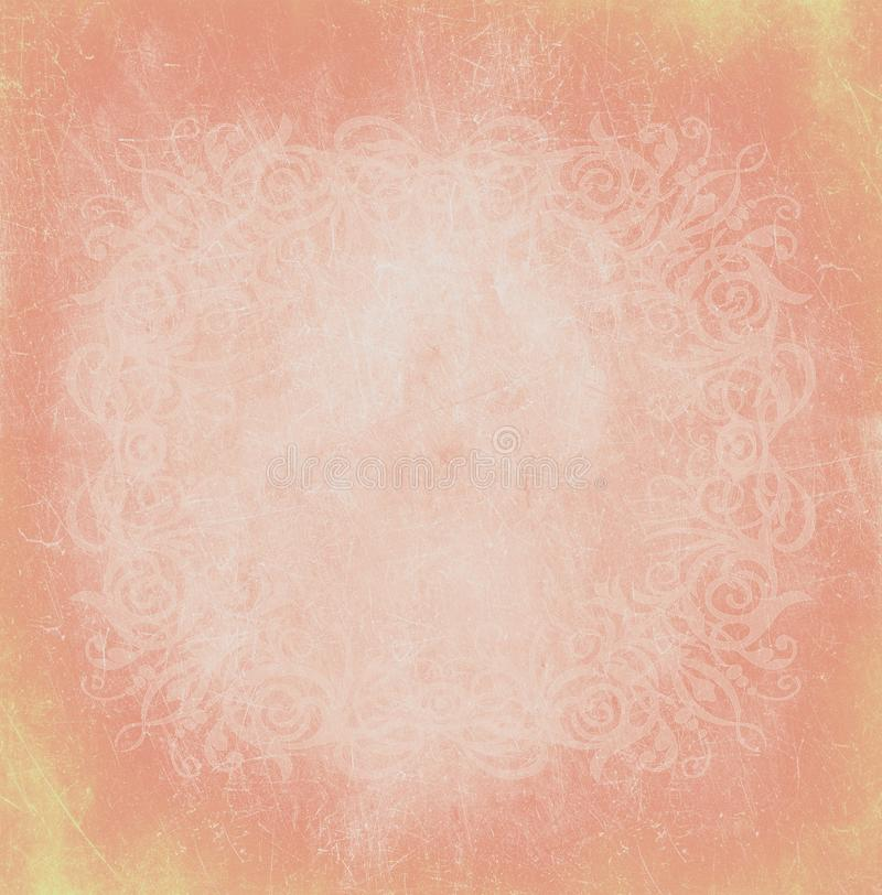 淡色桃子橙色小插图现代时尚秀丽皇家年迈的纹理减速火箭的纸婚巴洛克式的墙纸横幅背景 向量例证