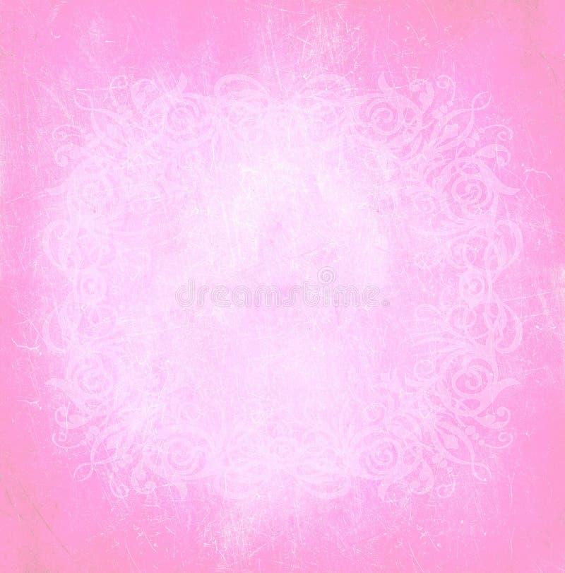 淡色浅粉红色的妇女小插图现代时尚秀丽皇家年迈的纹理减速火箭的纸婚巴洛克式的墙纸横幅背景 库存例证