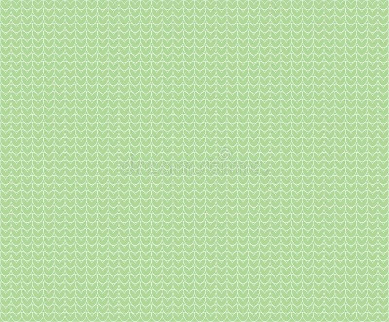 淡色浅绿色的与被概述的心脏的传染媒介无缝的被编织的纹理样式背景 羊毛布料 库存例证