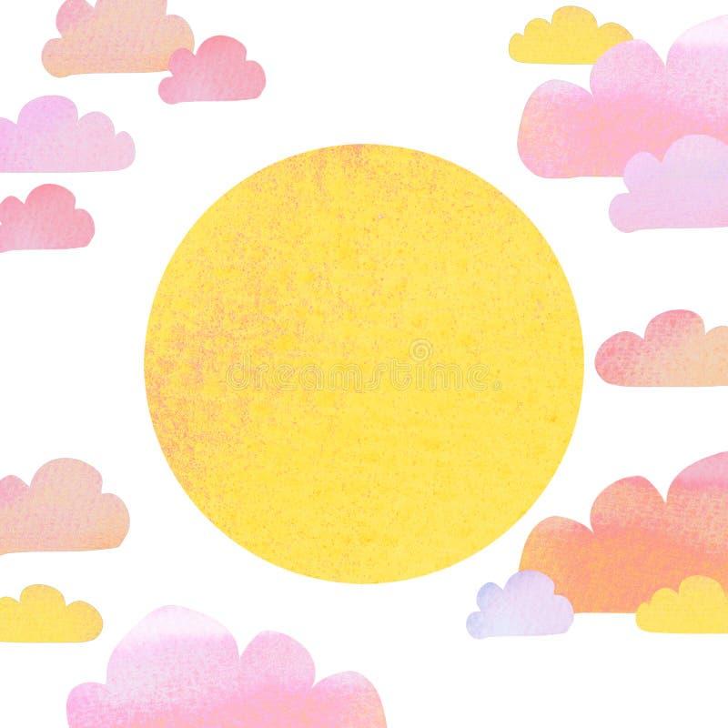 淡色玫瑰色云彩和太阳的逗人喜爱的最小的动画片样式例证与水彩纹理 查出在白色 皇族释放例证