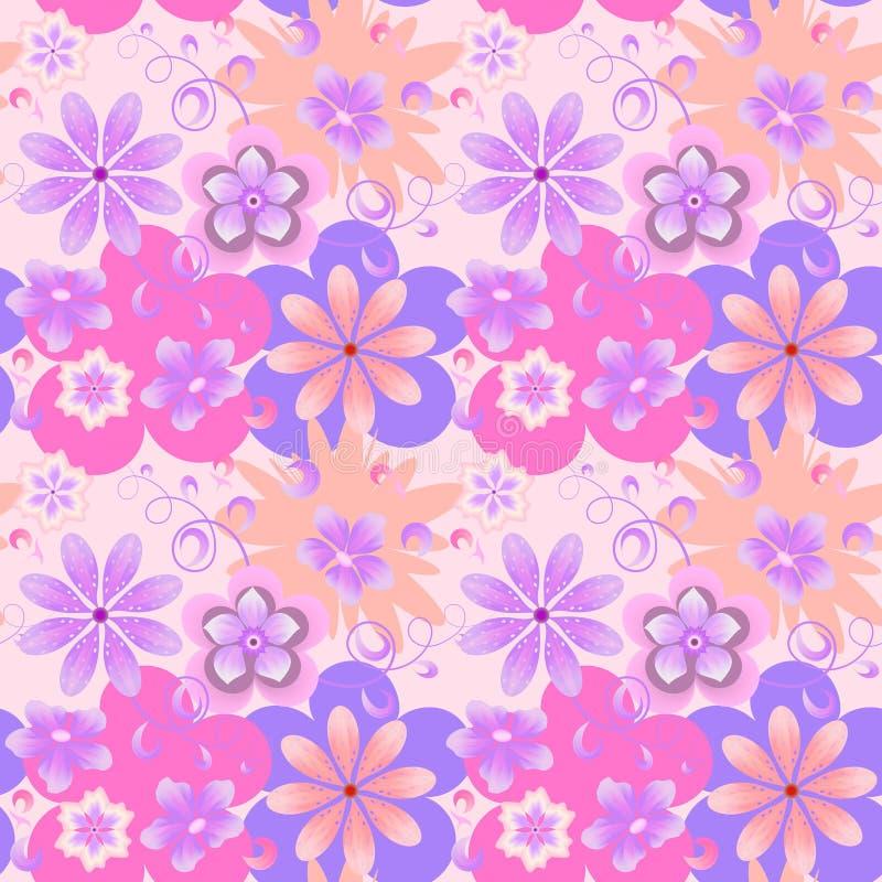 淡色的光栅花卉样式在淡紫色背景的 库存例证