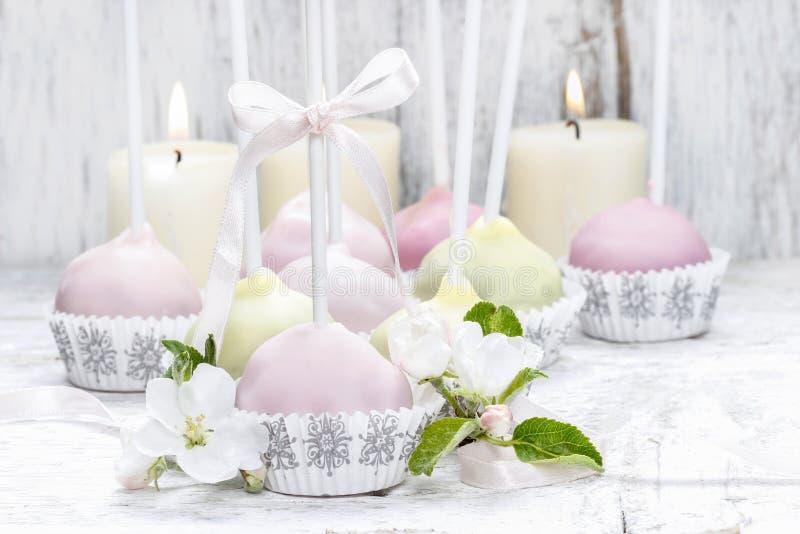 淡色蛋糕在浪漫春天集合流行 库存照片