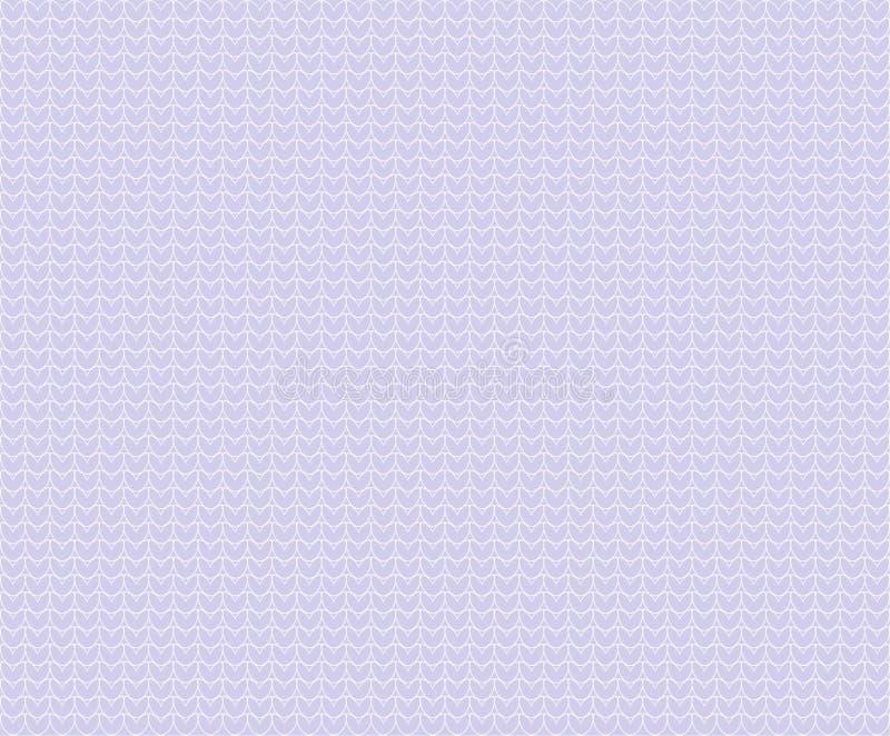 淡色轻的淡紫色紫罗兰导航与被概述的心脏的无缝的被编织的纹理样式背景 羊毛布料 库存例证