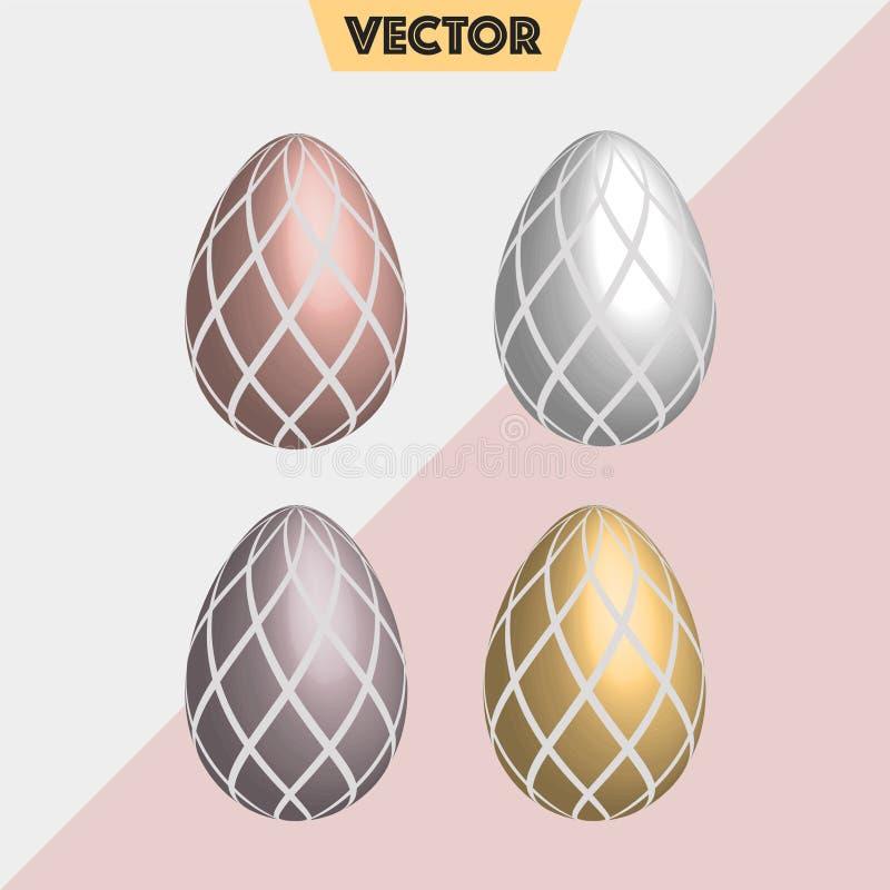 淡色金属3D传染媒介复活节彩蛋检查 免版税库存图片