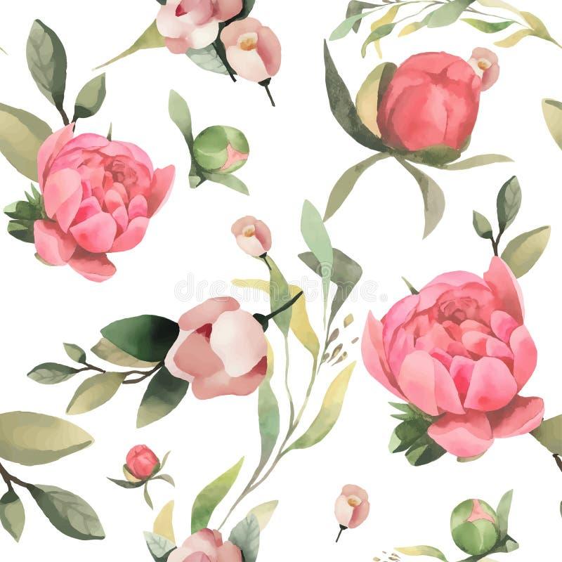 淡色水彩手拉的油漆桃红色花无缝的样式 皇族释放例证