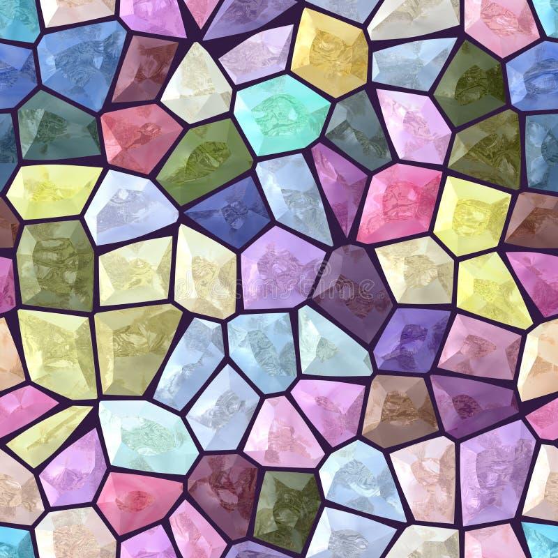 淡色colorfull上色了大理石不规则的塑料石与黑暗的紫色水泥的马赛克样式纹理无缝的背景 向量例证