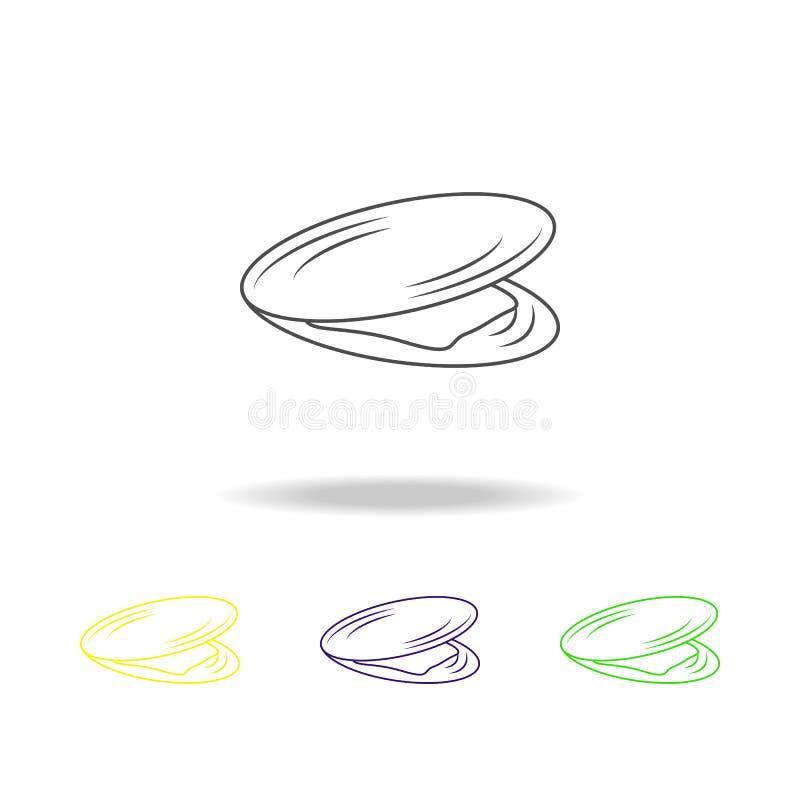 淡菜多彩多姿的象 普遍的海洋动物象的元素 优质质量图形设计概述象 标志和标志  向量例证