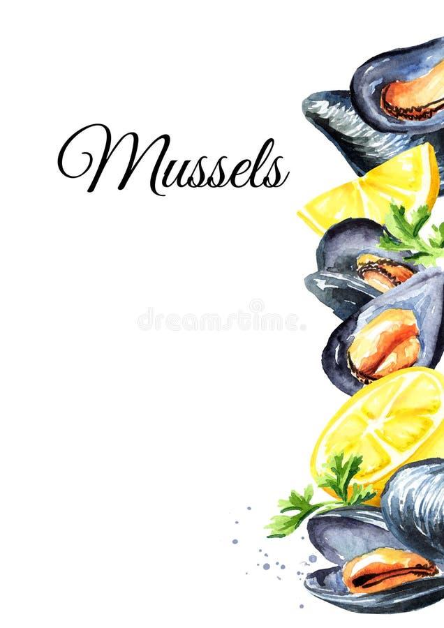 淡菜用柠檬和草本,海鲜卡片模板,在白色背景隔绝的水彩手拉的例证 库存例证