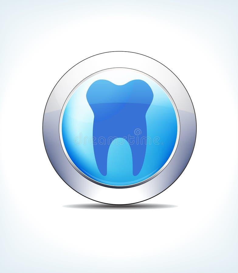 淡蓝的按钮牙、牙医、牙、医疗保健& Pharmaceuti 向量例证