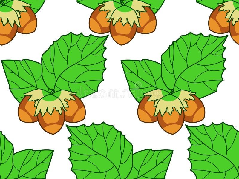 淡褐叶子和坚果样式 向量例证