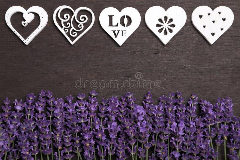 淡紫色和心脏 免版税库存照片