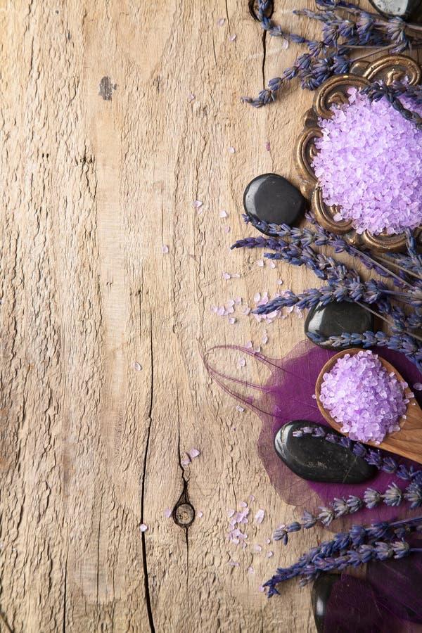 淡紫色和温泉石头背景 库存图片