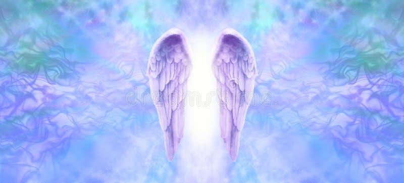 淡紫色天使飞过横幅 向量例证