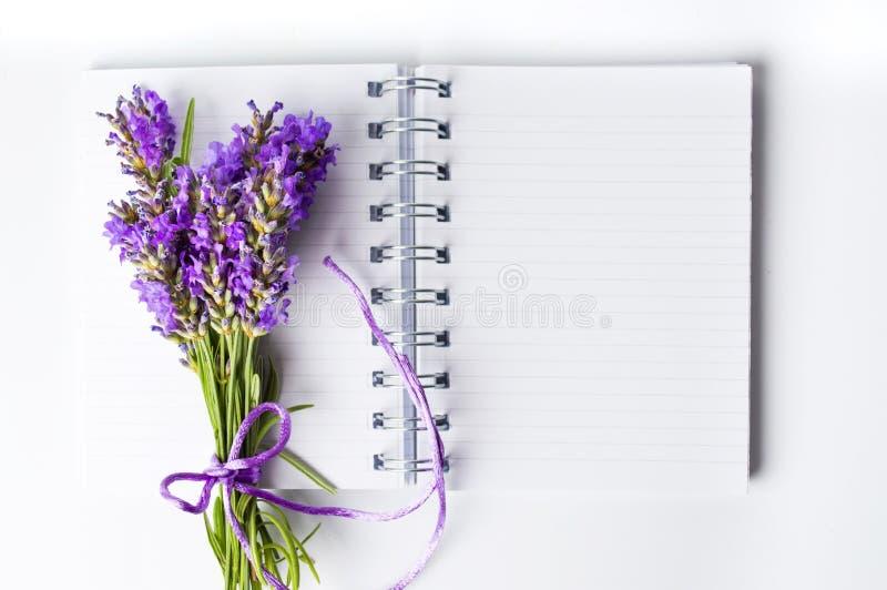 淡紫色开花在开放笔记本的花束 免版税库存图片