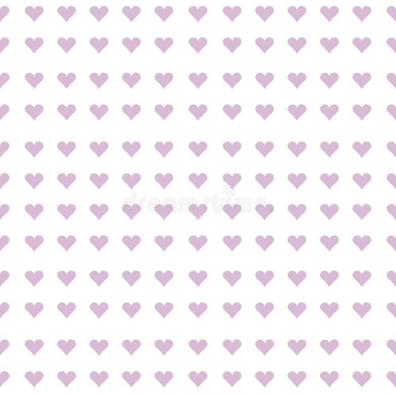 淡紫色心脏无缝的背景 库存例证