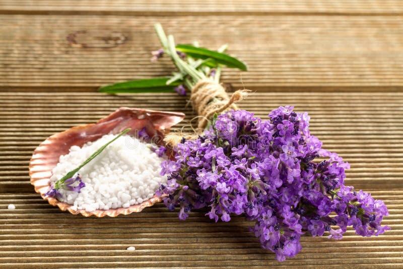 淡紫色捆绑和腌制槽用食盐 库存图片
