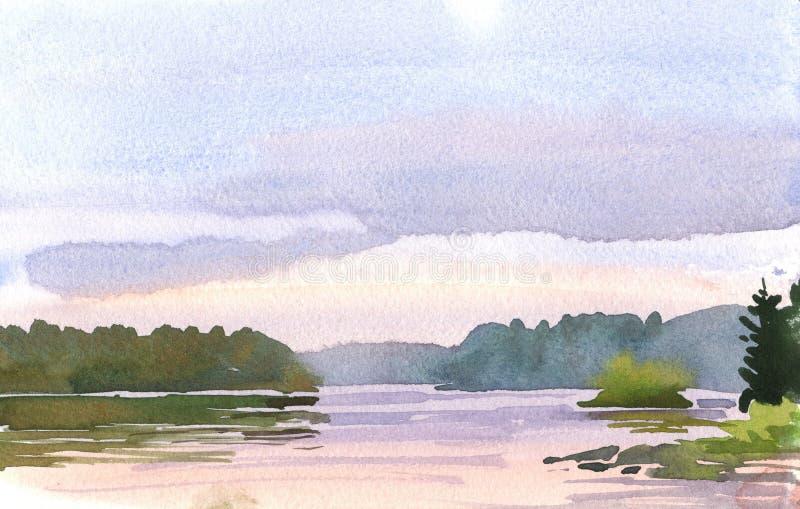 淡紫色日落 向量例证