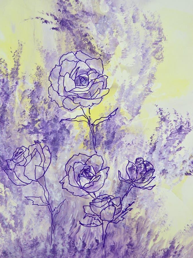 淡紫色玫瑰 库存例证