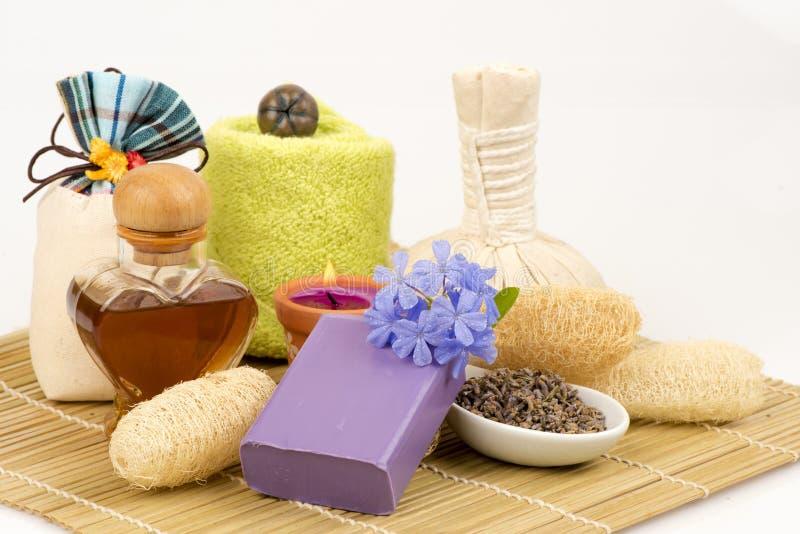 淡紫色自然肥皂,从自然原材料的手工制造肥皂 库存图片