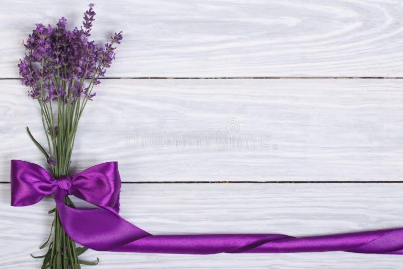 从淡紫色花的花卉框架  图库摄影