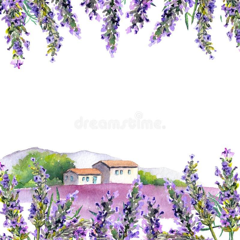 淡紫色花,农村农厂房子 水彩卡片 向量例证