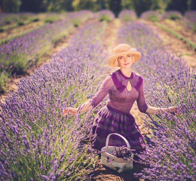 淡紫色领域的妇女 库存图片