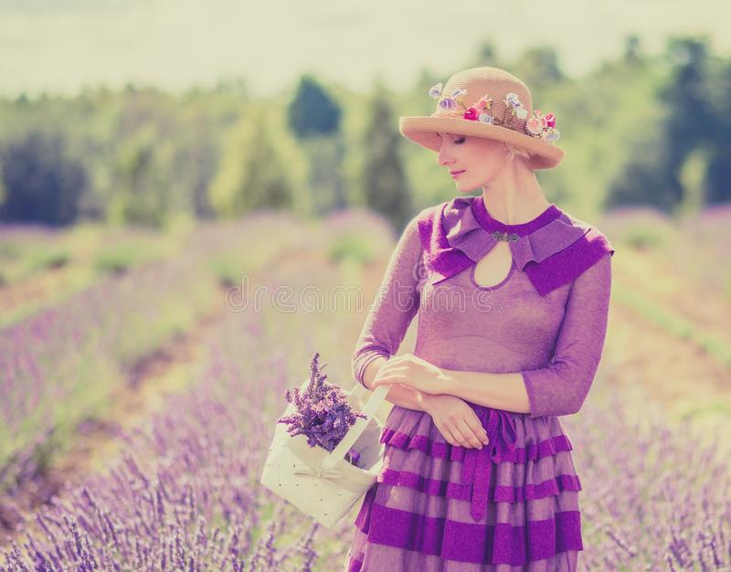 淡紫色领域的妇女 库存照片