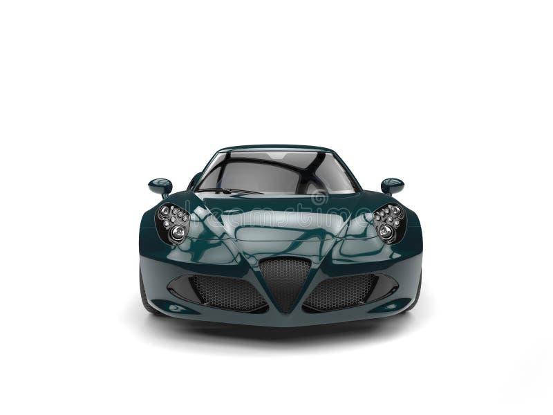 深刻的密林绿色现代豪华体育车的正面图 皇族释放例证