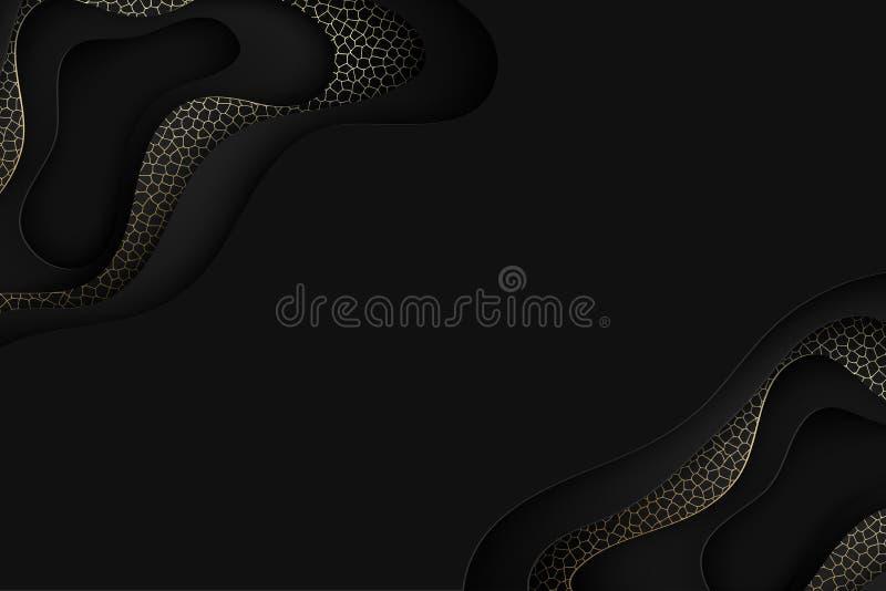 深刻的纸艺术动画片黑色抽象波浪 纸雕刻backgro 向量例证