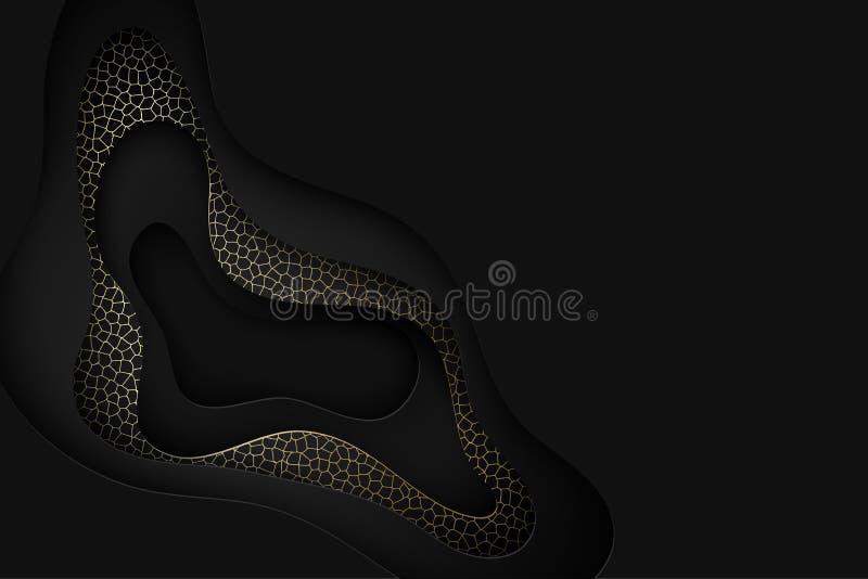 深刻的纸艺术动画片黑色抽象波浪 纸雕刻backgro 库存例证