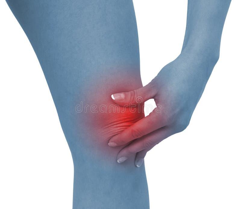 深刻膝盖痛苦妇女 免版税库存照片