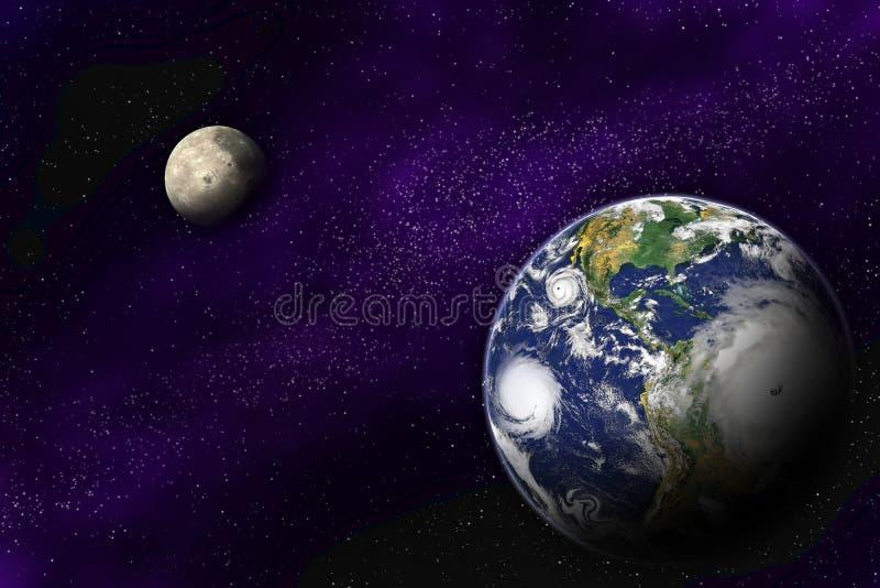 深地球月亮宇宙 库存例证