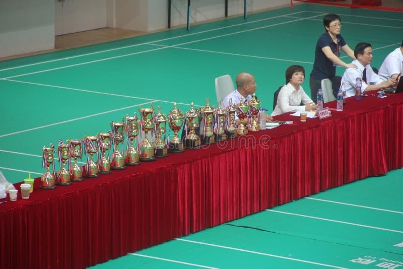 深圳跆拳道冠军指挥台 库存图片
