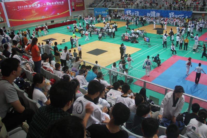 深圳跆拳道竞争场面,中国,亚洲 库存照片