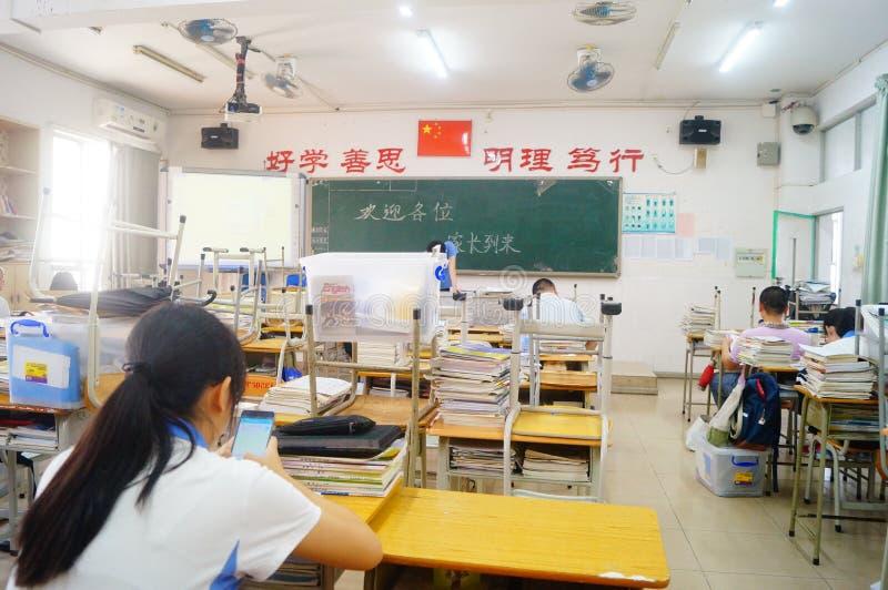 深圳,中国:中学教室 库存照片