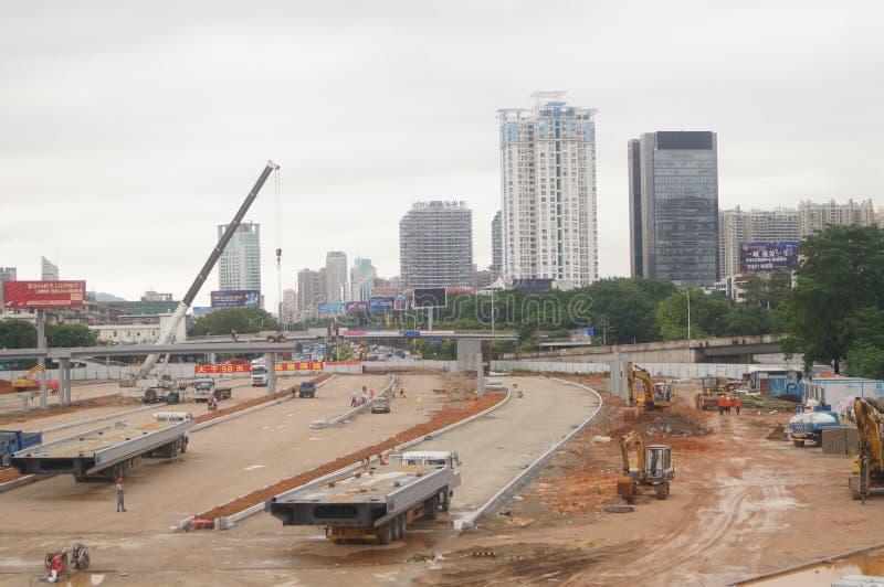 深圳,中国:南投风俗整修项目建造场所 免版税库存图片