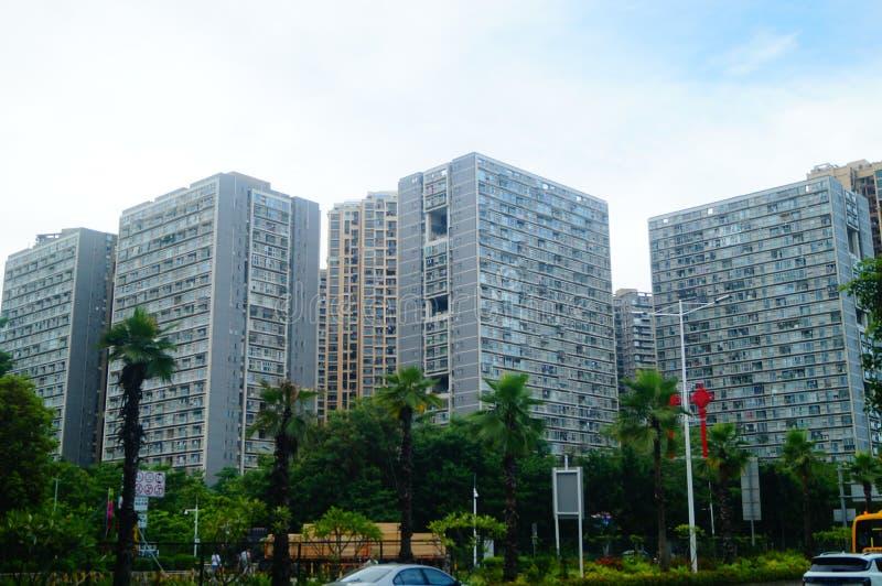 深圳,中国:居民住房建筑出现  免版税库存照片