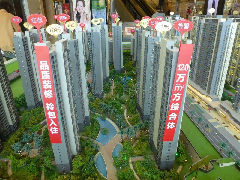 深圳,中国:居民住房模型,房地产促进 库存图片