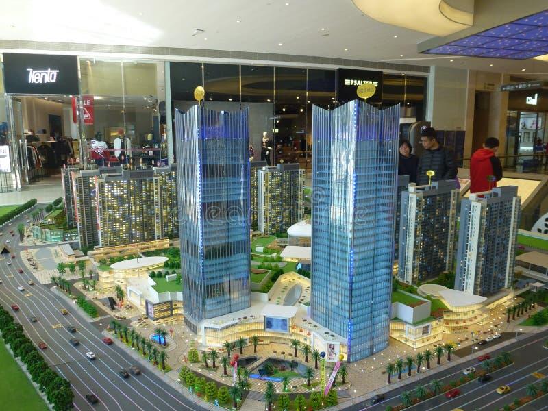深圳,中国:居民住房模型,房地产促进 库存照片