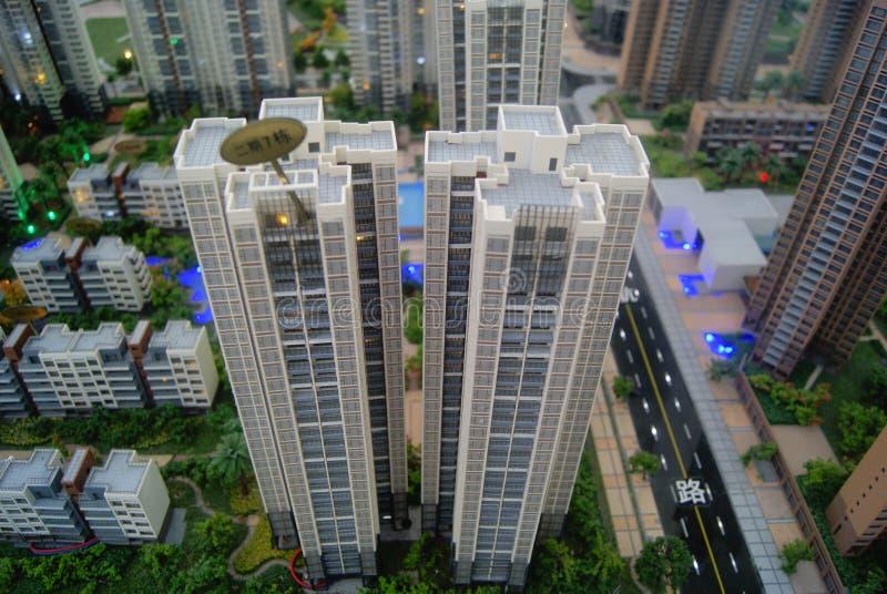 深圳,中国:房地产销售沙子桌模型 免版税库存照片