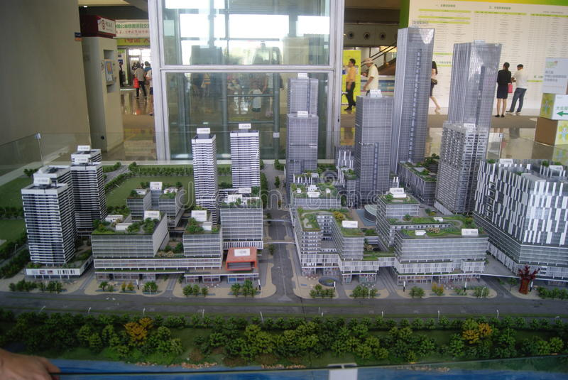 深圳,中国:房地产陈列 库存照片