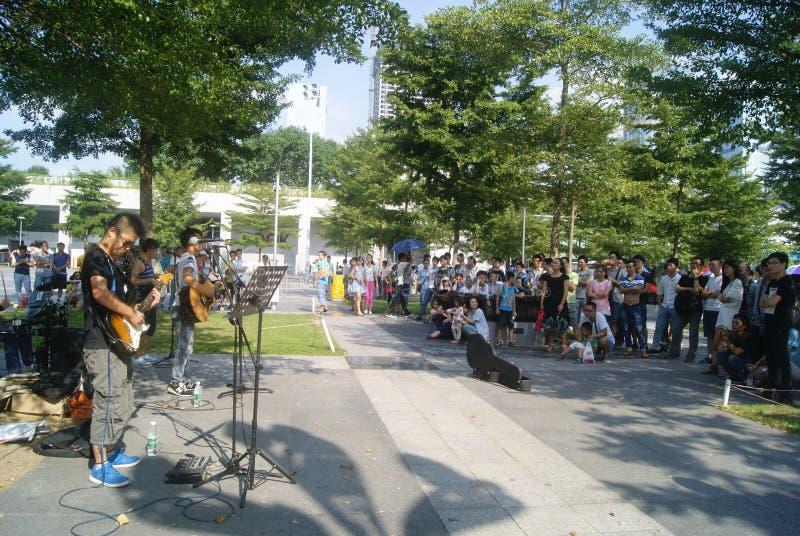 深圳,中国:街道音乐音乐会 图库摄影